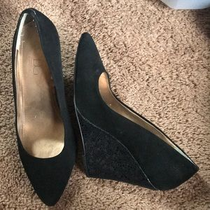 BCBG Black Velvet Wedges